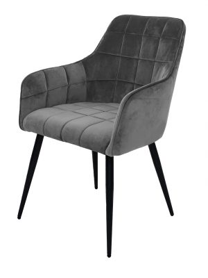 Evie Grey Brushed Velvet Contemporary Dining Chair