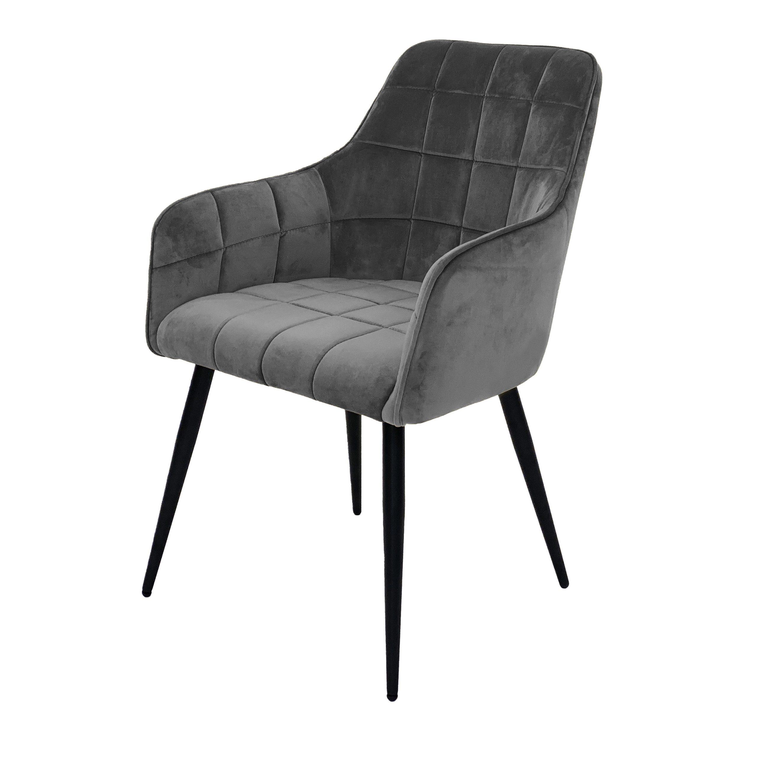 Evie grey velvet dining chairs