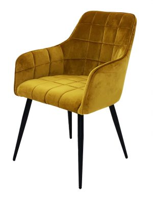 Evie Mustard Yellow Brushed Velvet Contemporary Dining Chair