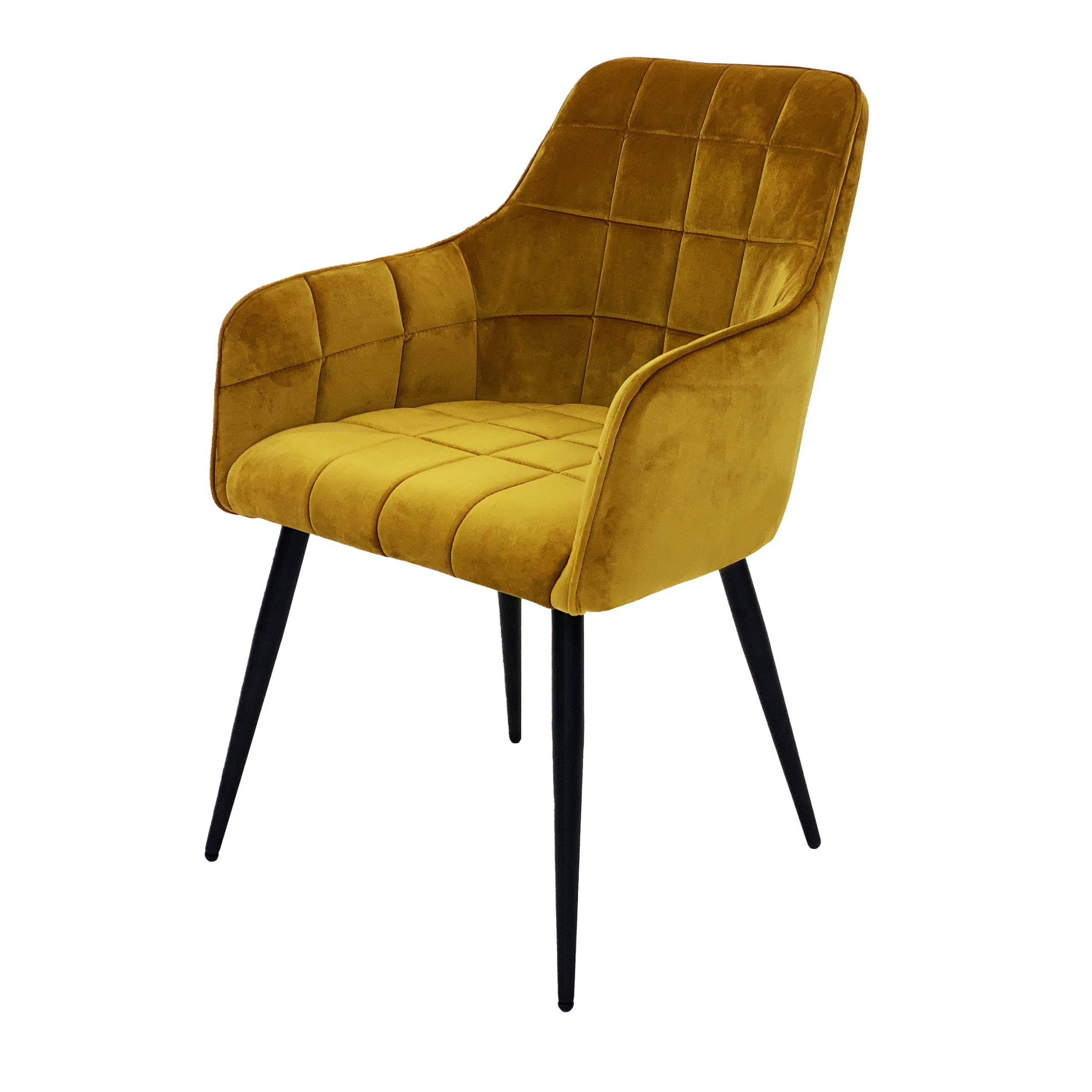 Evie mustard yellow velvet dining chair
