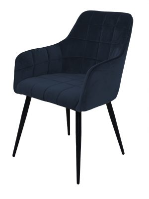 Evie Navy Blue Brushed Velvet Contemporary Dining Chair