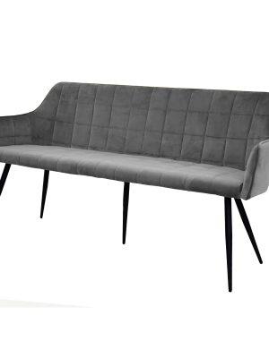 Evie Grey Brushed Velvet Contemporary Dining Bench