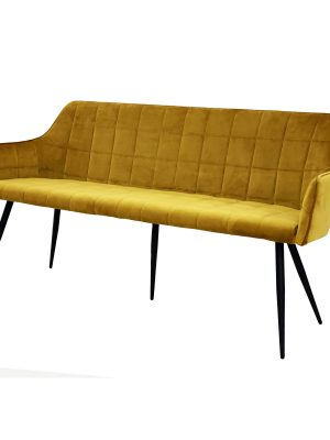 Evie Mustard Yellow Brushed Velvet Contemporary Dining Bench